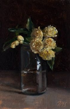 Lady Banks Rose by Julian Merrow-Smith Paintings I Love, Beautiful Paintings, Art Floral, Lady Banks Rose, Still Life Flowers, Bouquet, Still Life Oil Painting, Floral Photography, Still Life Art