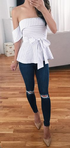 10 Exclusive Summer Outfits To Keep - Striped off-shoulder peplum top The Best of clothes in Look Fashion, Fashion Outfits, Womens Fashion, Petite Fashion, Woman Outfits, Fashion Ideas, Fashion Styles, Trendy Fashion, Fall Fashion
