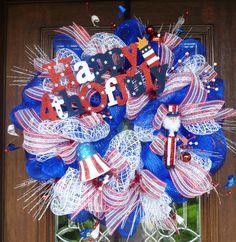 Deco Mesh HAPPY FOURTH of JULY Wreath by decoglitz on Etsy