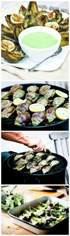 Grilled artichokes with basil dipping sauce....vegan, gluten free and so TASTY!! A step by step guide....its easy!   www.feastingathome.com