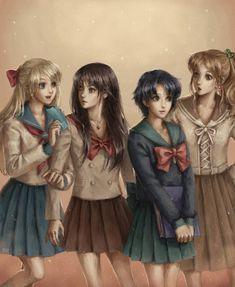 Minako, Rei, Ami, and Makoto
