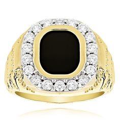 Luxurman 14k Gold Men's 1 1/2ct Black Onyx Diamond Ring