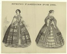 1861 fashion plate of wrappers, including one with fancy petticoat