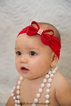 Red Bow Headband Christmas Headband Red Baby by BySophiaHeadbands