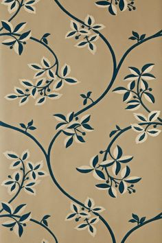 Ringwold (BP 1649) - Farrow & Ball Wallpapers - Ringwold is a meandering, playful tendrils and subtle two-tone leaf motif on a delicate trail. Showing in midnight blue with gold highlights on a caramel background - more colours are available. Please request a sample for true colour match.