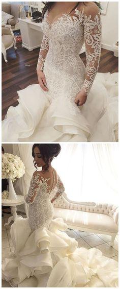 vestido de noiva Vintage Wedding Dresses with Sheer Long Sleeves Mermaid Appliques Lace Tulle vestido longo Bridal Gowns,33