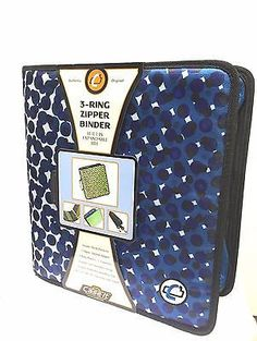 "Case-it 3-ring zipper binder 3"" Large Capacity Blue Office School Organizer"