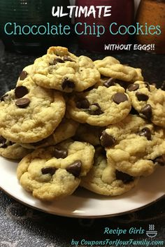 Chocolate Chip Cookies without Eggs  --chewy and tasty recipe for  when you run out of eggs or someone has egg allergies!