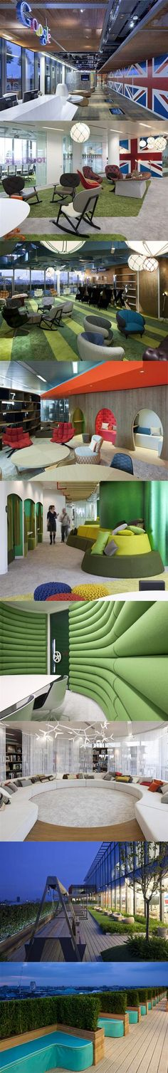 Amazing use of colours, fabrics, furniture and more.. #Google Headquarters #London
