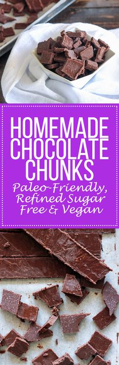This easy recipe for homemade Paleo Chocolate Chunks makes delicious dark chocolate that melts in your mouth with only three ingredients! It's perfect to use as a paleo-friendly or refined sugar-free alternative in any recipes calling for chocolate chips or chunks.
