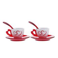 Justmoment SET 2 TAZZINE CAFFÈ GUZZINI CON PIATTINI E CUCCHIAINI IN PLASTICA MODELLO LOVE - Casa & Giardino