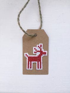 Reindeer Christmas Cross Stitch Gift Tag  by xCottonKisses on Etsy Nordic Christmas, Christmas Deer, Christmas Cross, Christmas Gift Wrapping, Xmas Gifts, Valentines Day Cards Handmade, Small Cross Stitch, Cross Stitching, Christmas Tree Decorations