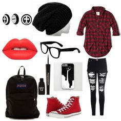 red and black by onecoolone on Polyvore featuring polyvore fashion style Abercrombie & Fitch Glamorous Converse JanSport Bling Jewelry Betsey Johnson Napoleon Perdis Lime Crime