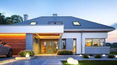 Hiacynt - zdjęcie 3 Modern Pool House, Modern Family House, Modern House Facades, Modern Bungalow House, Modern House Design, House Plans Mansion, Dream House Plans, House Outside Design, Beautiful House Plans