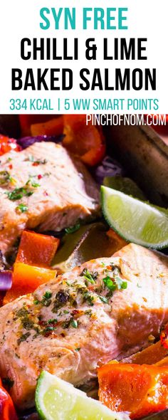 Chilli and Lime Baked Salmon – Pinch Of Nom Syn Free Chilli and Lime Baked Salmon Slimming World Fish Recipes, Slimming World Dinners, Slimming World Breakfast, Slimming World Diet, Slimming Eats, Clean Eating Snacks, Healthy Eating, Fresco, Chili