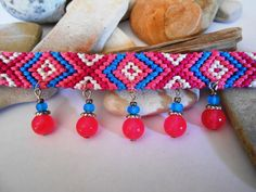 Pink and Blue Woven Bracelet Glass Charm by CharismaBolivia
