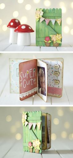 Diy gifts photo album project life ideas for 2019 Popsicle Stick Crafts, Craft Stick Crafts, Diy And Crafts, Paper Crafts, Mini Albums Scrap, Mini Scrapbook Albums, Baby Scrapbook, Diy For Kids, Diy Gifts