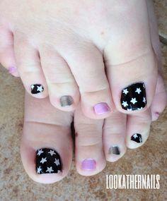 Tiny star toe nail art By LookAtHerNails