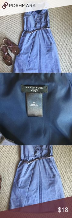 Ann Taylor 6 petite summer dress Shell 100 cotton lining 100 polyester. Zips up the side gorgeous ruffled denim colored dress. Does not come with CAbi belt Ann Taylor Dresses Mini