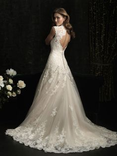 A-line Wedding Dress All-over Lace Features Beautiful Neckline Keyhole Back B078