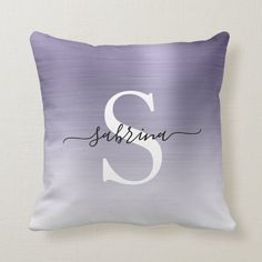 Personalized Lavender Ombre Brushed Metal Monogram Throw Pillow   Zazzle.com (sponsored) Purple Throw Pillows, Bed Pillows, Silver Ombre, Brushed Metal, Monogram Initials, Shades Of Purple, Free Sewing, Custom Pillows, Lavender