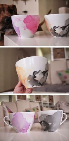 DIY watercolor mugs with nail polish