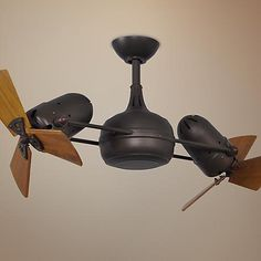 41 Inch Matthews Dagny Bronze And Mahogany Dual Ceiling Fan Dual Ceiling Fan, Ceiling Fans Without Lights, Shop Ceiling Fans, Bronze Ceiling Fan, Dark Ceiling, Kitchen Fan, Contemporary Ceiling Fans, Gold Lanterns, Visual Comfort Lighting