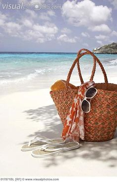 sunglasses on the beach | flip flops bag and sunglasses on sandy beach [017871BL]  Stock Photos ...