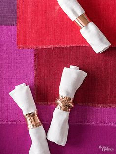 Give your Thanksgiving table polished style with napkin rings made from copper tape. We share three how-tos in the instructions and patterns, below.