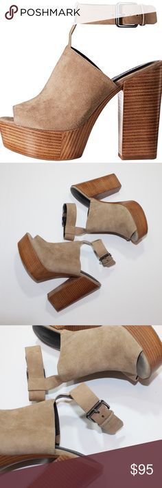 "Rebecca Minkoff Cece Platform Suede Heels 8.5 Excellent condition Rebecca Minkoff Cece platform peep-toe suede sandals in light tan.  In soft kid suede with stacked wood-print soles, Rebecca Minkoff's cool-girl platforms deliver a modern take on a '70s silhouette.  Open toe; buckled ankle strap  4.5"" heel, 1.5"" platform, feels like 3"" heel  Kid suede upper, leather sole Rebecca Minkoff Shoes"