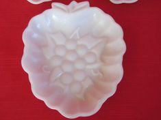 Vintage Hazel Atlas Milk Glass Grape Shaped Candy or Nut Dishes, Vintage 1950's   $7.00