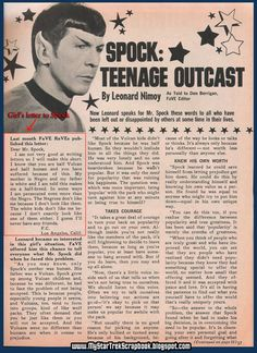 Leonard Nimoy's (written as Spock) very logical, very sensitive advice to a teenage girl in 1968