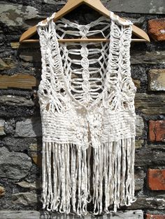 Vintage 70s hand Crochet MACRAME long LOOP Fringe fringed Waistcoat  Vest Tassle Hippie hippy top dress vest Festival chic Cream. $56.00, via Etsy.