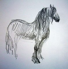 pencil drawing of friesian. Horse Pencil Drawing, Horse Drawings, Animal Drawings, Life Drawing, Painting & Drawing, Knife Painting, Animal Sketches, Art Sketches, Horse Sketch