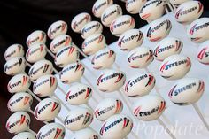 Rugby ball cake pops. Would love these for a kids rugby birthday party. Soon cute. Made by populate.com.au
