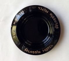 Aladdin Las Vegas Strip Vintage Round Black Amethyst Glass Vintage Ashtray