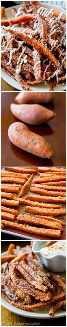 The BEST sweet potato fries! Coated in cinnamon-sugar and served with vanilla glaze dip. Absolutely addicting.