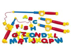 Amazon.com: Magnetic Alphabet Fishing Set: Toys & Games ((( I HAVE THE LETTERS, i HAVE A POLE,  I CAN MAKE OUR OWN FISHING POLE TO PLAY THIS GAME,))
