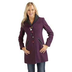 Smart fitted long jacket Quirky buttons Pocket detail at the front Long Jackets, Debenhams, Pocket Detail, Dress Me Up, Winter Coat, Buttons, Purple, How To Wear, Coats