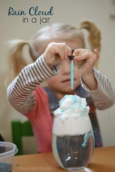 Experiment for Kids- Make a Rain Cloud in a Jar {Fun & educational Science kids LOVE!}