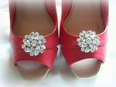 Shoe Clips large Clear Rhinestone Shoe Clips Bridal Wedding  Silver Shoe Clips - set of 2 -, $24.00