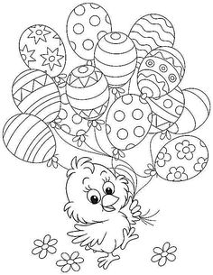 Free Easter colouring-in sheets for the kids Chick Holding Easter Balloons Free Easter Coloring Pages, Easter Coloring Sheets, Coloring Easter Eggs, Coloring Pages For Kids, Coloring Books, Colouring Sheets, Colouring In, Spring Coloring Pages, Adult Coloring