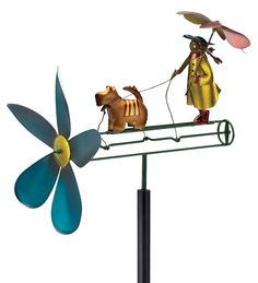 Umbrella Girl And #Dog #Whirligig