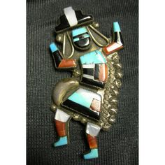 Zuni Rainbow Dancer Native American Brooch  Sterling and by Xulha, $249.99