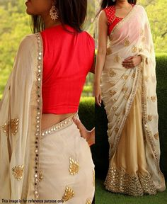 RE - Alluring cream satin chiffon Georgette foil mirror work saree - Latest Sarees - New In - Indian Indian Dresses, Indian Outfits, Mirror Work Saree, Mirror Work Blouse, Party Wear Sarees Online, Chiffon Saree, Georgette Sarees, Georgette Dresses, Lehenga Choli