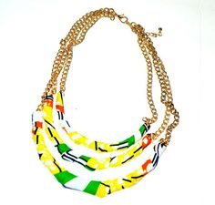 Fabric bib necklace blue green by ZabbaDesigns on Etsy