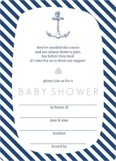 trendy navy white anchor nautical fill in blank baby shower invitation template sample design