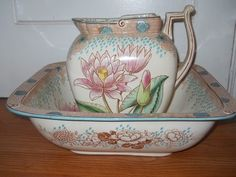 Antique Doulton's Burlem, 1882-1891, Pitcher & Washbowl, Water Lily+Birds