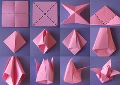 Origami Flowers Step by Step Tutorials: Origami is magical in true sense. It wa. Origami Flowers Step by Step Tutorials: Origami is magical in true sense. It was invented in China Tulip Origami, Origami Lotus Flower, Origami 3d, Origami Fish, Origami Folding, Useful Origami, Origami Design, Origami Ball, Origami Ideas