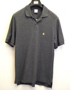 ⭐BROOKS BROTHERS Performance Polo Golf Shirt Mens (M) (Medium) Short Sleeve GRAY  | eBay